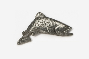 #125 - Jumping Brook Trout Antiqued Pewter Pin
