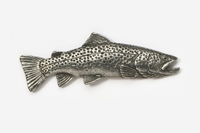 "#126 - 1 3/4"" Brown Trout Antiqued Pewter Pin"