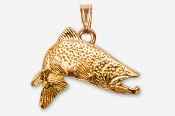 #P126AG - Jumping Brown Trout 24K Gold Plated Pendant