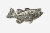 "#120 - 1 3/4"" Right Facing Largemouth Bass Antiqued Pewter Pin"