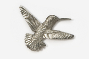 #349 - Right Flying Hummingbird Antiqued Pewter Pin