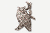 #360A - Great Horned Owl & Moon Antiqued Pewter Pin