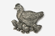 #381 - Hen and Chicks Antiqued Pewter Pin