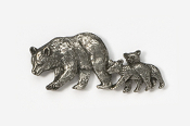 #405C - Black Bear & Cubs Antiqued Pewter Pin