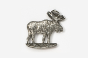 #406 - Standing Moose Antiqued Pewter Pin