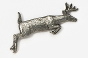 #420 - Jumping Whitetail Deer Antiqued Pewter Pin