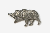 #423A - Brown Bear & Salmon Antiqued Pewter Pin