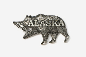 #423C - Alaska Brown Bear & Salmon Antiqued Pewter Pin