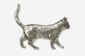 #438 - Walking Cat Antiqued Pewter Pin
