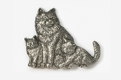 #439B - Longhair Cat & Kittens Antiqued Pewter Pin