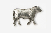 #445B - Steer Antiqued Pewter Pin