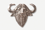 #487 - Cape Buffalo Head Antiqued Pewter Pin
