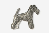 #859A - Wire Fox Terrier Antiqued Pewter Pin