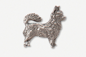 #860A - Long Hair Chihuahua Antiqued Pewter Pin
