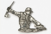 #910 - Fly Fisherman Antiqued Pewter Pin