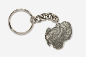 #K326 - Left Facing Strutting Turkey Antiqued Pewter Keychain