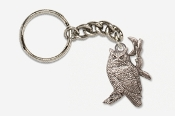 #K360A - Great Horned Owl & Moon Antiqued Pewter Keychain