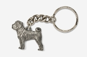 #K458A - Shar Pei Antiqued Pewter Keychain