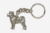 #K464D - Malamute Antiqued Pewter Keychain