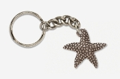 #K539B - Medium Starfish Antiqued Pewter Keychain