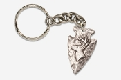 #K702I - Arrowhead & Side Buck Head Antiqued Pewter Keychain