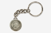 #K800 - White Flyer Clay Pigeon Antiqued Pewter Keychain