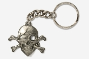 #K801 - Skull and Cross Bones / Pirate Skull Pewter Keychain