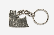 #K850 - Show Clip Yorkie Antiqued Pewter Keychain