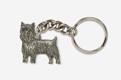 #K850A - Pet Clip Yorkie Antiqued Pewter Keychain