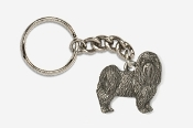 #K865A - Pet Clip Maltese Antiqued Pewter Keychain