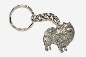 #K883 - Keeshond Antiqued Pewter Keychain