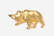 #423AG - Brown Bear & Salmon 24K Gold Plated Pin