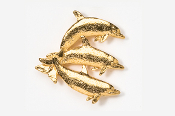 #475BG - Dolphin / Porpoise Trio 24K Gold Plated Pin