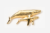 #485G - Humpback Whale & Calf 24K Gold Plated Pin