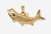 #P209AG - Left Facing Tarpon 24K Gold Plated Pendant