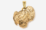 #P326G - Left Facing Strutting Turkey 24K Gold Plated Pendant