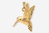 #P350G - Left Flying Hummingbird 24K Gold Plated Pendant