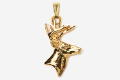 #P400G - Buck Head 24K Gold Plated Pendant