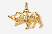 #P423AG - Brown Bear & Salmon 24K Gold Plated Pendant