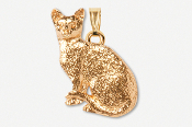 #P439DG - Sitting Shorthair Cat 24K Gold Plated Pendant