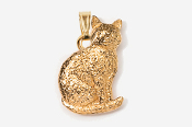 #P439G - Sitting Cat 24K Gold Plated Pendant