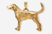 #P453BG - Coon Hound 24K Gold Plated Pendant
