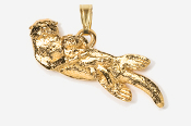 #P474G - Sea Otter & Baby 24K Gold Plated Pendant