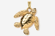 #P607G - Sea Turtle 24K Gold Plated Pendant