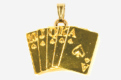 #P710G - Royal Flush 24K Gold Plated Pendant