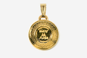 #P800G - White Flyer Clay Pigeon 24K Gold Plated Pendant