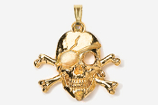 #P801G - Skull and Cross Bones / Pirate Skull Plated Pendant