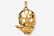 #P802G - Skull with Shark 24K Gold Plated Pendant