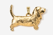 #P855G - Basset Hound 24K Gold Plated Pendant