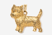 #P877G - Cairn Terrier 24K Gold Plated Pendant